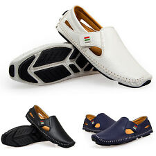 Summer Mens Fashion Leather Casual Shoes Moccasin Slip On Loafer Hollow Shoes