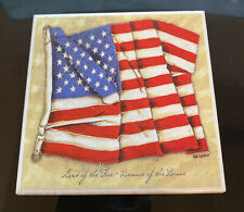 New listing Lot of 4 Tile and Cork coasters American Flag nice