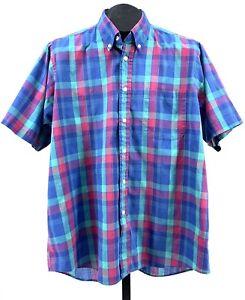 Vtg 80's Preppy SEARS men's store plaid shirt Lightweight Checks Unicorn Logo L