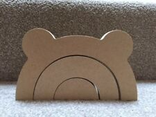 Wooden MDF 3 Part Chunky Stacking Rainbow with cute ears (20cm wide) 18mm