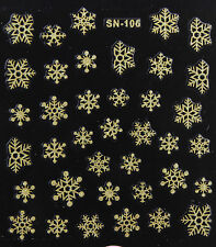 Christmas GOLD Glittery Snowflakes Xmas 3D Nail Art Stickers Decals Manicure