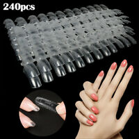 240PCS Dual Nail Art System Form Mold Acrylic UV Gel False Tips Tool Clear Kit