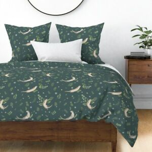 Otter Animals Cute Otters Leaves Playful Dark Sateen Duvet Cover by Roostery