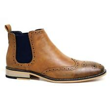 Mens Faux Leather Chelsea Boots Smart Formal Ankle Brogues Wedding Office Shoes