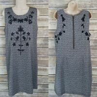 Simply Noelle Size L Shift Dress Gray Black Floral Embroidered Sleeveless Women