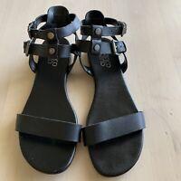 Franco Sarto Black Leather Women's 2 Ankle Strap Sandals Shoes Size 7.5