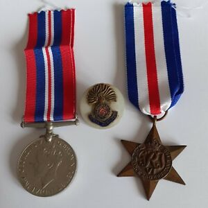 WW2 British War and France & Germany Star Medal with Royal Fusiliers Sweetheart