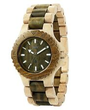 Wewood 100% Natural Wood Unisex Watch - Date Beige/Army