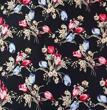 Gatito Rosa 100/% Algodón Popelín Floral Vestido empavesado Acolchar Tela Artesanal