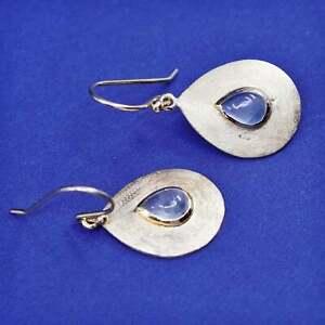 Vermeil gold over sterling silver earrings, matte 925 teardrop drops moonstone