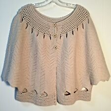 TRINA TURK Cream Knit Button Front Cashmere & Wool Poncho Overlay Sweater NWOT L