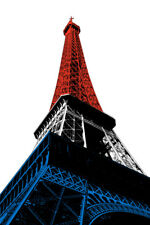 Eiffel Tower French Flag Paris France Pop Art Print Poster 12x18