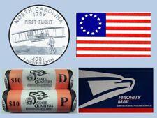 2001 NORTH CAROLINA P & D OFFICIAL US MINT STATEHOOD QUARTER ROLLS UNOPENED BOX