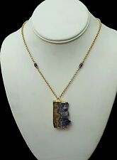 Artisan Necklace Amethyst Druzy Pendant on 14K Gold Fill Chain Handcrafted USA