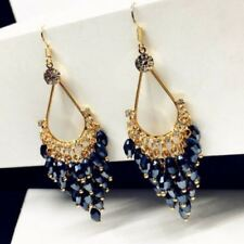Dangle Earrings Womens Seed Beads Long Blue Montana Crystal and Gold Chandelier