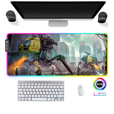 LED Gaming Mauspad Mechwarrior War X RGB XXL Groß Mausunterlage PC Mat Mousepad