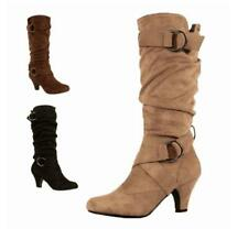 Hottest Womens Suede Buckle Cone Heel Slouch Mid Calf Riding Boots British Shoes
