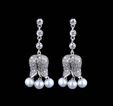 Stunning Long GIFT BOXED CZ Drop Dangle Pearl Tulip CRYSTAL EARRINGS UK