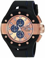 Invicta Mens 52mm S1 Rally Chronograph Rose Dial Black Rubber Watch 22440