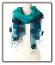 Ultramarine Silk Wool Organza with Roses Handmade Scarf (HES-250) Blue Star Intl
