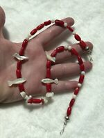 "#669 Red Coral and Mother Of Pearl 19"" Necklace, Bird, Fish Fetishes, 1970s Look"