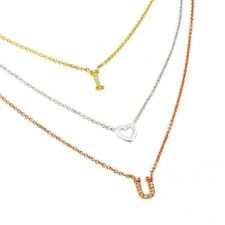 """Sterling Silver 3 Color Chains Necklace w/ CZ Stones """"I Love You"""" Pendants"""
