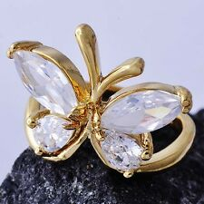 Attractive Womens 9k Gold plated Clear crystal Butterfly wedding Ring Size 6