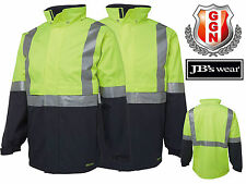 JBS HI VIS WATER PROOF JACKET 6DATJ,WORKWEAR,3M REFLECTIVE TAPE,DAY AND NIGHT