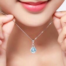 Casual Women Elegent Sapphire Gemstone 925 Sterling Silver Pendant Necklace DQCA