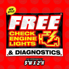 3'X2' Free Check Engine Lights & Diagnostics Banner Open Display Sign Auto Shop