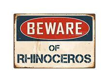 """Beware Of Rhinoceros 8"""" x 12"""" Vintage Aluminum Retro Metal Sign Vs360"""