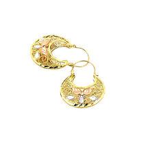 Real 10K Tri Color Gold Filigree Basket Hoop Earrings, Height 36mm, Width 26mm