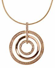 Swarovski Elements Crystal Triple Circle Level Pendant Necklace 18K Gold 7136y