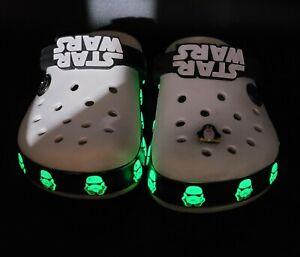 Crocs Star Wars GLOW IN DARK Kid Sz J 1 Crocband Toddler Kid White Black Penguin