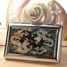 Mother of Pearl Double Dragon Metal Cigarette Tobacco Holder Case Storage Wallet