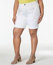 INC International Concepts Plus White Star-Studded Bermuda Shorts SIZE 14W-22W