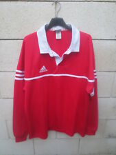 Maillot rugby ADIDAS rouge shirt maglia manches longues L