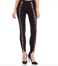NEW Womens Hot & Delicious Cotton Black Lace Up Leggings Size S
