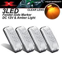 "4 Pcs Lorry 3.9"" Truck Trailer 3 LED Amber Turn Light RV Side Marker Waterproof"