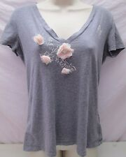Abercrombie & Fitch Womens V-Neck T-Shirt Grey with Pink Flowers Size Medium