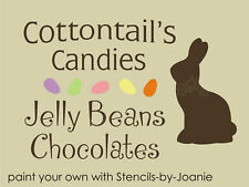 Stencil Cottontail Candy Primitive Chocolate Bunny Jelly Beans Easter Spring Art