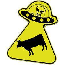 "Aliens Steal Cow car bumper sticker decal 5"" x 4"""