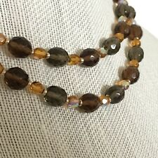"Joan Rivers Brown Gray Topaz Faceted Glass Bead Necklace 32"" Long Gold Tone"