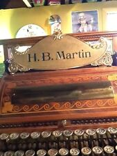 Antique Brass National cash register Top Sign NCR H. B. Martin