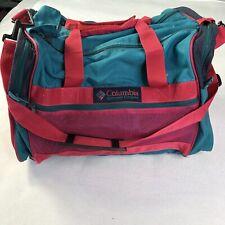 Vtg 90s Columbia Sportswear Duffel Bag Pink Blue Carry On Gym Weekender Holdall