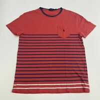 Polo Ralph Lauren T-Shirt Mens M Red Blue White Crew Neck Classic Fit Striped