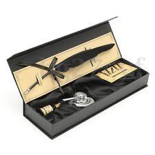 9Pcs Vintage Swan Feather Quill Metal Nib Dip Pen Writing Ink Set Box Gift
