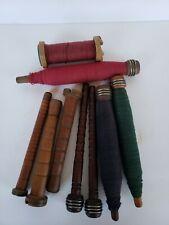 Lot of 9 Vintage Wooden Spindles Bobbins Spools Thread Wool Salts England