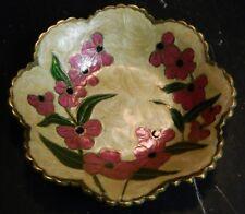 """Vintage Scalloped Floral Enameled Cloisonne Brass Bowl 1"""" x 5.88"""" Excellent Con"""