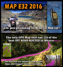 MAP E32 topo map of Mexico for OFFROAD in Baja Garmin GPS includes 250 routes